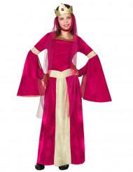 Déguisement reine médiévale rouge rose et or fille