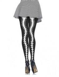 Collants squelette courbé femme
