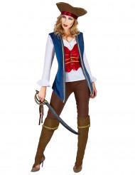Déguisement veste pirate velours bleu et prune femme