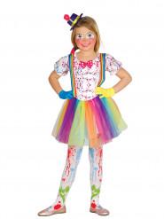 Déguisement clown tacheté de couleurs fille