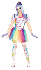 Déguisement clown tacheté coloré femme