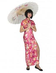 Déguisement japonaise rose fleurie femme