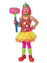 Déguisement clown dans les étoiles multicolore fille