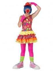 Déguisement clown dans les étoiles multicolore femme