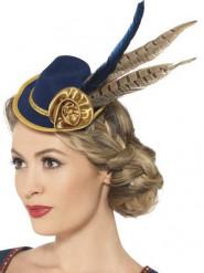 Mini chapeau bleu et or avec plumes femme Fête de la bière