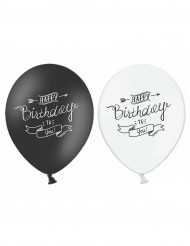 6 Ballons Happy Birthday noir et blanc 30 cm