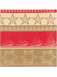12 Serviettes Noël papier intissé Premium rouge et doré 40 x 40 cm