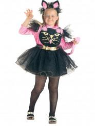 Déguisement petit chat espiègle rose et noir fille