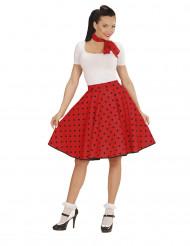 Jupe et foulard rouge à pois années 50 femme