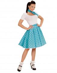 Jupe et foulard turquoise à pois années 50 femme