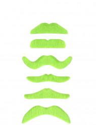 Moustache vert fluo adulte