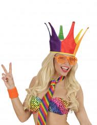 Chapeau bouffon du roi multicolore adulte