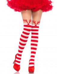 Collants rayés rouge et blancs petit renne femme