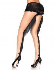 Collants couleur peau avec franges noir cabaret luxe femme