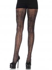 Collants crochets noirs et argent femme