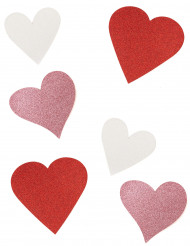 6 Décorations en carton cœur à paillettes