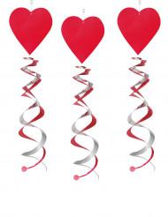 3 Suspensions spirales coeurs rouges 60 cm