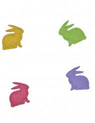 20 Confettis en feutrine lapins colorés