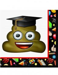 16 Serviettes en papier Emoji™ diplômé 33 x 33 cm