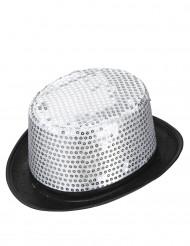 Chapeau haut de forme argent à sequins contour noir adulte