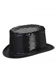 Chapeau haut de forme noir à sequins contour noir adulte