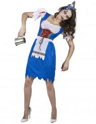 Déguisement zombie bavaroise bleue femme