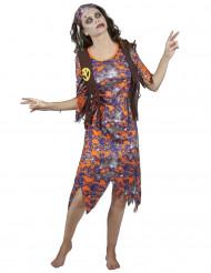 Déguisement zombie hippie femme