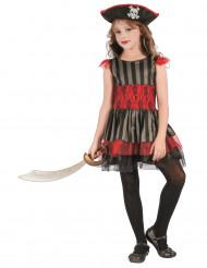 Déguisement pirate rouge et noir fille
