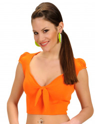 Top orange avec noeud sexy femme