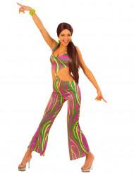Déguisement années 70 multicolore femme
