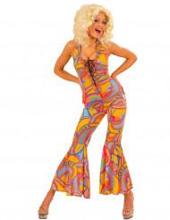 Déguisement combinaison hippie multicolore femme