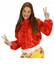 Chemise rouge avec froufrou femme