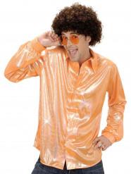 Chemise disco holographique orange homme