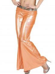 Pantalon disco holographique orange femme