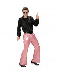 Pantalon disco holographique rose homme
