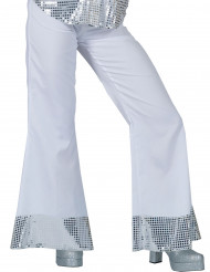 Pantalon disco blanc avec sequins sur le bas femme
