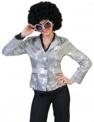 Veste disco argent à sequins luxe femme