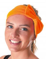 Bandeau avec noeud orange fluo adulte