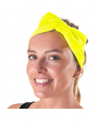 Bandeau avec noeud jaune fluo adulte