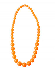 Collier grosses perles orange adulte