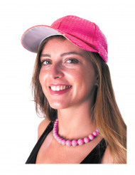 Casquette sport à sequins rose adulte