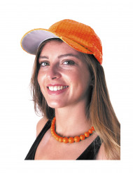 Casquette sport à sequins orange adulte