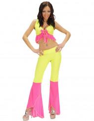 Déguisement disco sexy fluo jaune et rose femme