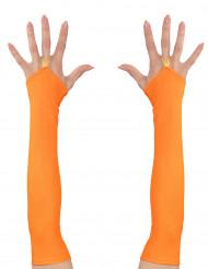 Mitaines longues oranges fluo femme