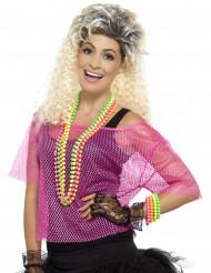 T-shirt court résille rose années 80 femme