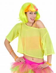 T-shirt court résille jaune années 80 femme