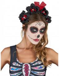Serre-tête fleurs noir et rouge Dia De Los Muertos adult