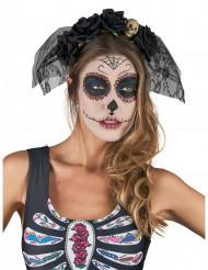 Serre-tête noir voile dentelle Dia De Los Muertos