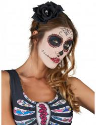 Serre tête rose noire Dia De Los Muertos adulte