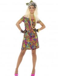 Déguisement années 80 fluo léopard femme